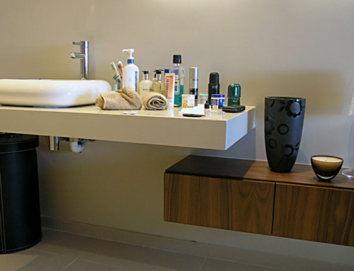 Bathroom-vanity american walnut and white